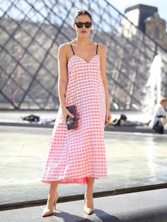 A gingham dress that's right on trend. PFW