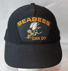 Vintage Snapback Hat Black Black Seabees Can by ilovevintagestuff