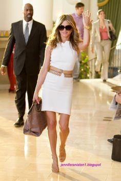 Jen Aniston. summer white sheath dress with great belt