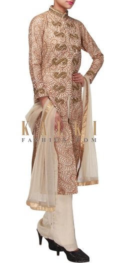 Buy Online from the link below. We ship worldwide (Free Shipping over US$100) http://www.kalkifashion.com/beige-straight-suit-enhanced-in-thread-and-zardosi-embroidery-only-on-kalki.html
