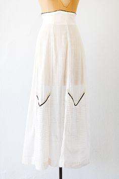 antique 1910s cotton white batiste pintuck skirt