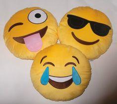 NEW Set of 3 Emoji Emotion Round Yellow Cushions Stuffed Plush Pillows