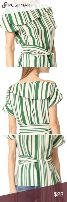 J.O.A Stripe Tunic New striped J.O.A tunic blouse. Fold over neckline with slight off the shoulder. Super cute and can accesorize to wear it into the holiday season.  The optional sash is not included. J.O.A Tops Blouses