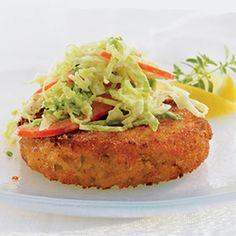 Crab Cakes, a yummy lunch idea, you can even cook them the night before and serve them cold for lunch!