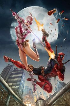 Deadpool vs gwenpool fan art print by nickongart marvel comi Comic Book Characters, Marvel Characters, Comic Character, Comic Books Art, Comic Art, Marvel Dc Comics, Marvel Vs, Marvel Heroes, Deadpool Comics