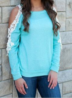 Stylish Scoop Neck Long Sleeve Cut Out Crochet Knitwear For WomenT-Shirts | RoseGal.com