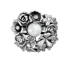 Oh joy! You can't help but smile when gazing upon this sterling silver ring from Or Paz, featuring a cultured freshwater pearl nestled in a dimensional floral bouquet. From Or Paz(R) Sterling Silver Jewelry from Israel.<br><br>For more details on this ring's fit, please refer to the Ring Size Guide above. QVC.com