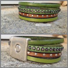 Bracelet 4 liens cuir vert