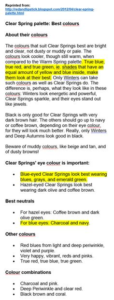 Best colours for clear spring Bright Spring, Clear Spring, Clear Winter, Color Type, Type 1, Spring Color Palette, Color Palettes, Seasonal Color Analysis, Dramatic Classic