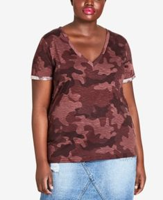 262385780cda6 City Chic Trendy Plus Size Camouflage Top - Red 14W Camouflage Tops