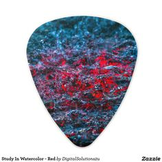 Study In Watercolor - Red Polycarbonate Guitar Pick