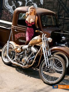 hot rods, bikes , pin up girls and anything else that I think is cool. Biker Chick, Biker Girl, Custom Motorcycles, Custom Bikes, Custom Cycles, Custom Cars, Car Girls, Pin Up Girls, Rat Rod Girls