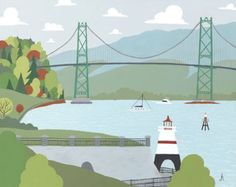 Vancouver - Lions Gate Bridge, Art archival print of illustration of scenic cityscape of Downtown BC city Lions Gate, Pigment Ink, All Print, Vancouver, Giclee Print, Illustration Art, Illustrations, Whimsical, Bridge
