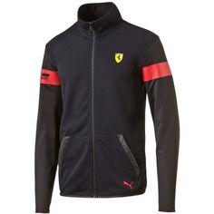 Puma Men's Ferrari Track Jacket ($100) ❤ liked on Polyvore featuring men's fashion, men's clothing, men's activewear, men's activewear jackets, black, mens activewear, mens track top and mens track jacket