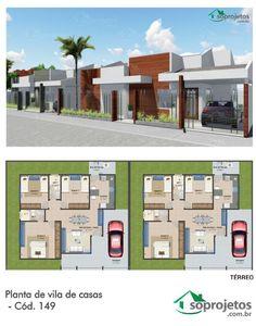 Esta casa foi projetada para quem possui um terreno com bom tamanho, ideal para se construir uma vila, seja para alugar, para morar com a família ou empreender vendendo casas.   Cada uma das casas são: Térrea com 3 quartos, sala de estar e jantar amplas integradas cozinha padrão, além de área de serviço e garagem e são baseadas no projeto Cód. 148.   Para construir duas casas: - Terrenos de esquina: 12x27m - Meio da quadra: 18x27m   Para maiores terrenos entre em contato.