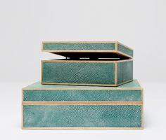 """Made Goods - """"COOPER"""" faux shagreen box set trimmed in wood. Made Goods. Available at Michael Mitchell, Charleston."""