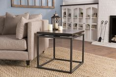 The James+James Floating Top End Table / Side Table features a solid wood, jointed top and industrial steel base. Click to shop our Living Room Collection! Den, Great Room, Decor, Farmhouse, Modern Farmhouse, Clean, Open Concept, Living Room, Home