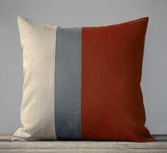 Colorblock Pillow in Burnt Orange and Grey by JillianReneDecor