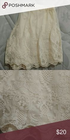 Lace ivory shorts size large Lace ivory shorts size large adorable but too snug on me I'd say they're meant for a 10-12 astr Shorts