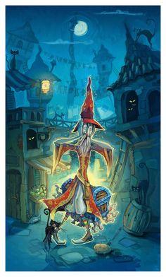 Discworld--Terry Pratchet Rincewind by Tatiks Discworld Books, Terry Pratchett Discworld, The Last Unicorn, Purple Halloween, American Gods, Love Illustration, Illustrations, Humor, Art Boards