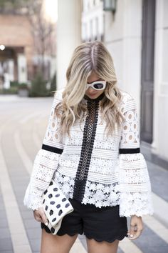 Lace Bell Sleeve Top // Black & White