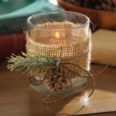 Burlap and Pine Votive Candle Holder | Kirklands