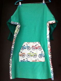 Green dress with bicycles