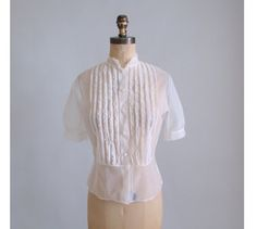 Vintage 1940s Blouse : 40s 50s Ruffle Shirt