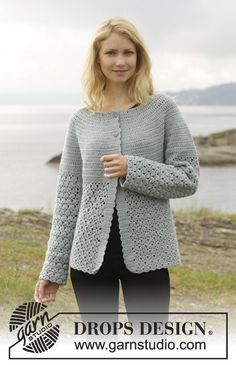 "Crochet DROPS jacket with round yoke and lace pattern, worked top down in ""Merino Extra Fine"". Size: S - XXXL. ~ DROPS Design"