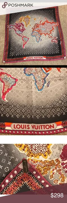 "Auth Brand new Louis Vuitton world map silk scarf This auction is for a Brand New Auth Louis Vuitton silk Carre Mono Map Gris Fuch scarf Style M74756 Suggested Retail price $485 + Tax.   Approx measurement 34"" x 34"".  This auction come with dust bag, gift box, gift tag, sticker and tie for the box.  Please feel free to ask questions before bidding.  International buyer pay actual shipping cost. Louis Vuitton Other"