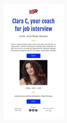 Clara C, your coach for job interview