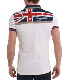 Polo homme blanc avec drapeau anglais dans le dos