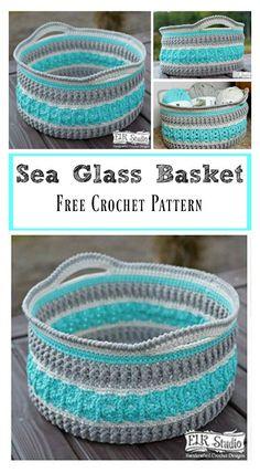 Sea Glass Basket Free Crochet Pattern #Freepattern #Crochet
