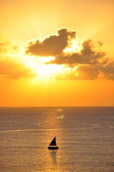 Sunset aboard a dhow in Mozambique, Africa.