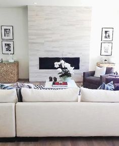 Great modern fireplace in Hollywood Hills home with city view.