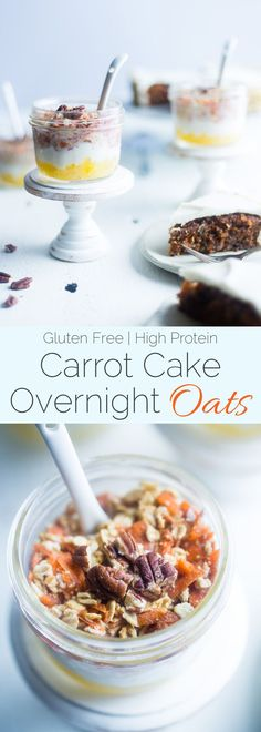Wake up to dessert for breakfast with these gluten free, protein packed carrot cake overnight oats! An easy, healthy breakfast for under 300 calories! Make Ahead Breakfast, Healthy Breakfast Recipes, Clean Eating Recipes, Breakfast Ideas, Healthy Recipes, Healthy Food, Protein Recipes, Skinny Recipes, Eat Breakfast