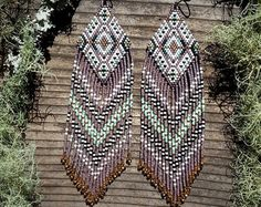 Moondance..Beaded Fringe Earrings Native American by hoofandarrow
