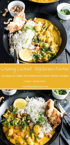 to make Creamy Coconut Vegetarian Korma makes a great go-to Meatless Monday meal. It's naturally paleo and gluten-free and can easily be made vegan. Serve it with a side of rice, quinoa or cauliflower rice for a quick and delicious dinner. Indian Food Recipes, Whole Food Recipes, Vegan Recipes, Cooking Recipes, Indian Vegetarian Recipes, Delicious Recipes, Veggie Korma, Paleo Dinner, Dinner Recipes
