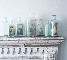 Put pictures into glass bottles