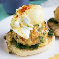 Maryland style crab cakes complete this perfect brunch Benedict!
