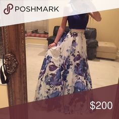Prom dress Dillard's 2-piece masquerade style prom dress. Blue and watercolor floral kinda. It was worn one night for prom and is in perfect condition. There are built in bra pads so no bra necessary! Masquerade Dresses Prom