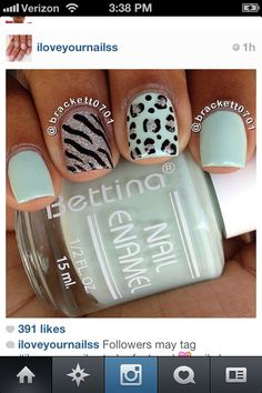cute mint green with silver zebra and cheetah