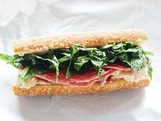 Make Ahead Salami Sub with White Bean Spread and Kale Slaw.