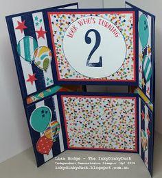 The InkyDinkyDuck - Lisa Hodge Stampin' Up!® Australia: Never-ending card fun! Fun Fold Cards, Folded Cards, Kirigami, Infinity Card, Never Ending Card, Action Cards, Balloon Bouquet, Card Tutorials, Creative Cards