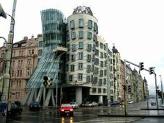 The Nationale-Nederlanden Building, designed by Frank Gehry. Example of Anthropomorphism - the idea of giving human characteristics to non-human things. Prague Czech Republic, The Two Towers, Frank Gehry, History Class, Out Of This World, 19th Century, Around The Worlds, Street View, Europe