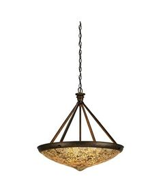 Currey and Company 9938 Chandelier This distinctive pendant is created from natural Capiz Shell. With three lights it will provide a pleasant glow for dining or ambience in any area. The wrought iron frame finished in Cupertino is a pleasing complement to the amber glow of the shade.