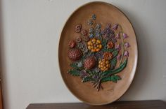 vintage FLORAL PLASTER oval wall HANGING. by thevintageholicfrog, $21.00