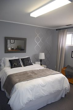 simple small section of stencil on a bedroom wall as accent - Bedroom Design Ideas Budget Bedroom, Home Bedroom, Bedroom Wall, Bedroom Decor, Bedroom Ideas, Wall Decor, Paint Decor, Master Bedrooms, Diy Wall