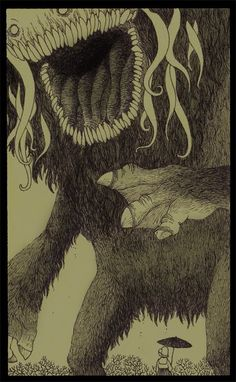 Wonderfully creepy monsters by Don Kenn (drawn entirely on post-its) - Imgur