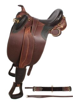 ONLY $449.99! New and Improved for better fit and extreme comfort.  Up for sale is a beautiful new and Improved hand crafted black Australian saddle. This saddle is specially designed to fit most horses with its new and innovated stuffed wool panels that form to the horses back. The saddle features a deep seat for added comfort. The saddle is made with soft supple drum dried leather and all brass hardware.